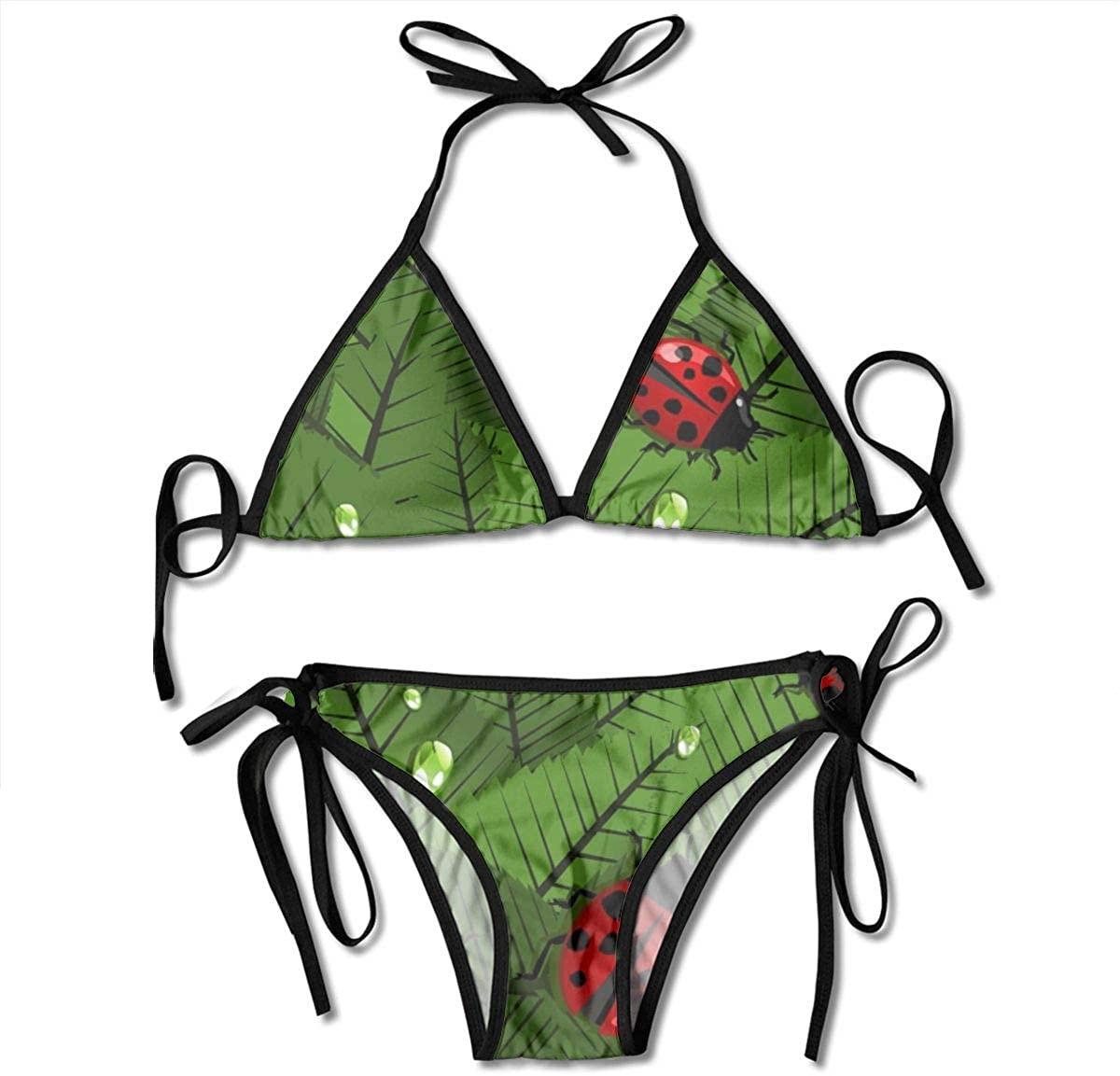 ZMagwa Women's String Triangle Bikini Set Two Piece Leaves and Ladybugs Swimsuit Black