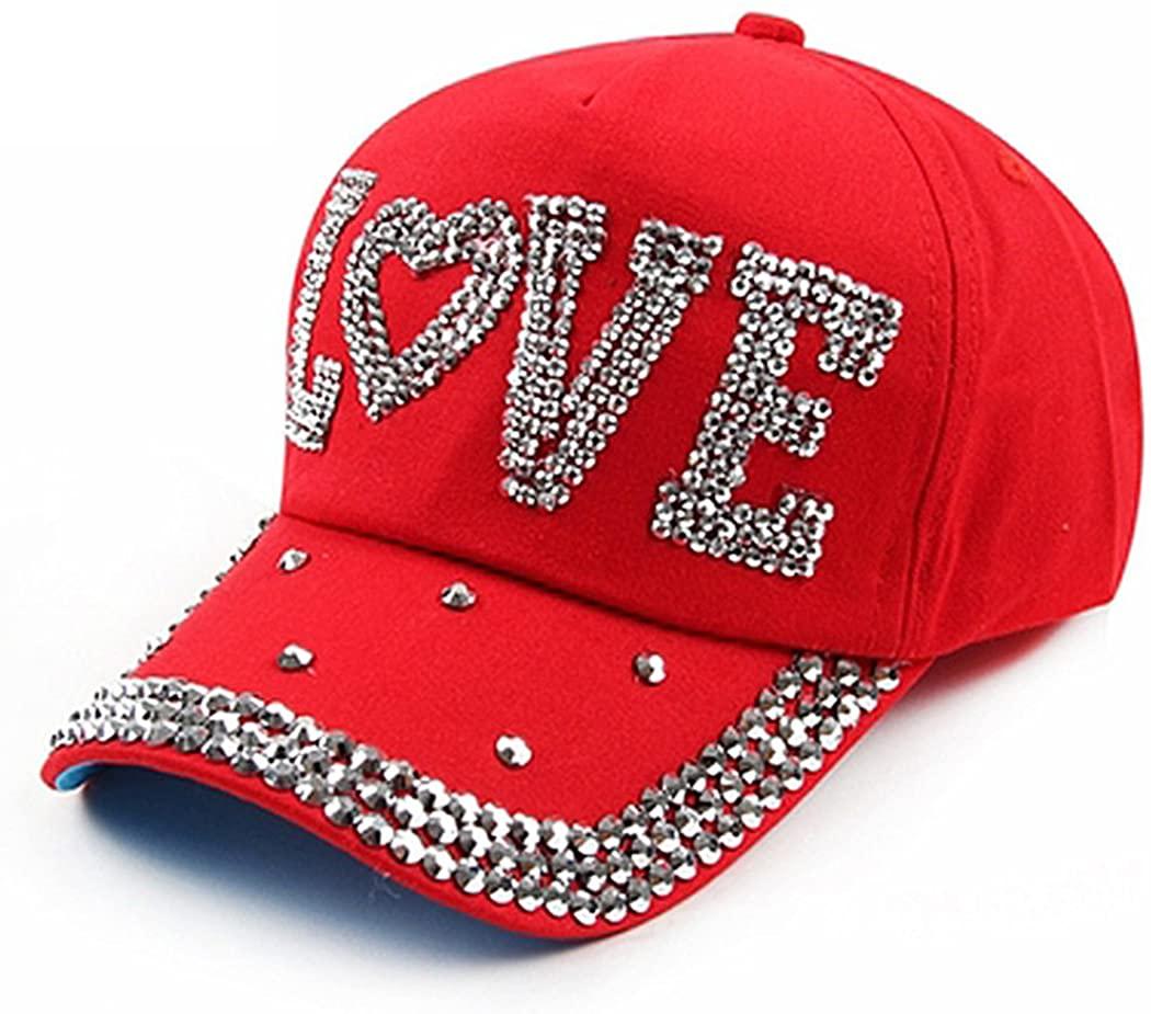 Raylans Fashion Women Bling Studded Rhinestone Crystal Love Lips Baseball Caps Hats