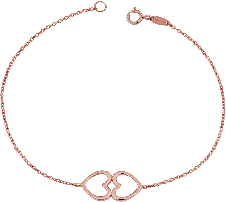 Kooljewelry 14k Gold Double Heart Bracelet (7.25 inch)