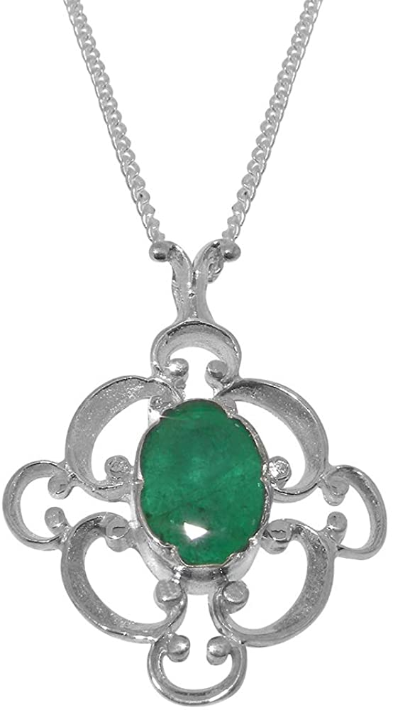 Solid 18k White Gold Natural Emerald Womens Pendant & Chain - Choice of Chain lengths