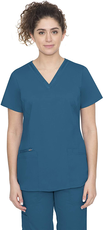 healing hands Purple Label Women's Jasmine 2278 V-Neck Top Scrubs- Caribbean- Large
