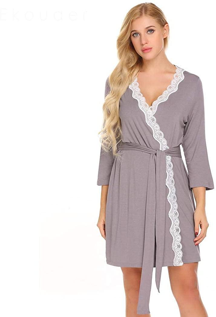 BathGown Kimono Bathrobe for Women with 3/4 Sleeves Lightweight Cotton Short Longewear for SPA Bathing Wedding Purple