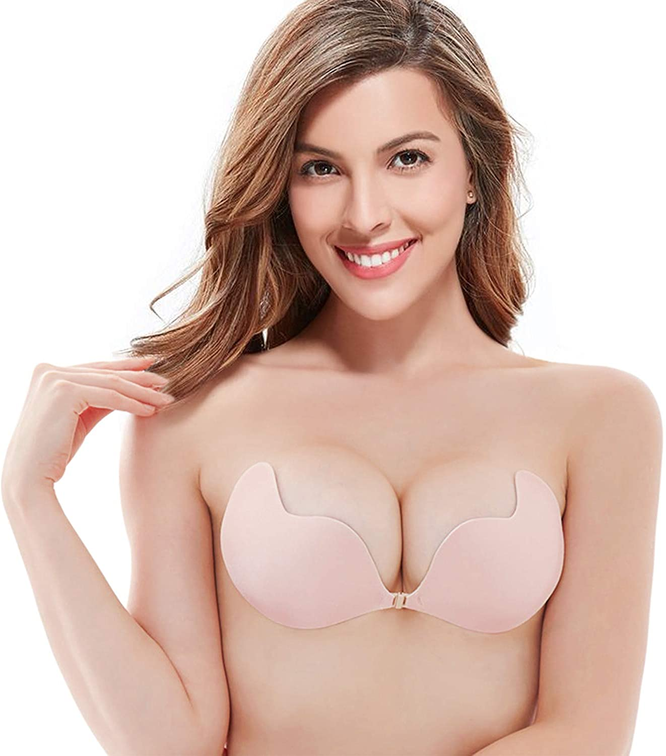 Zacca Push up Adhesive Bra Strapless Invisible Reusable Backless Sticky Bra for Women
