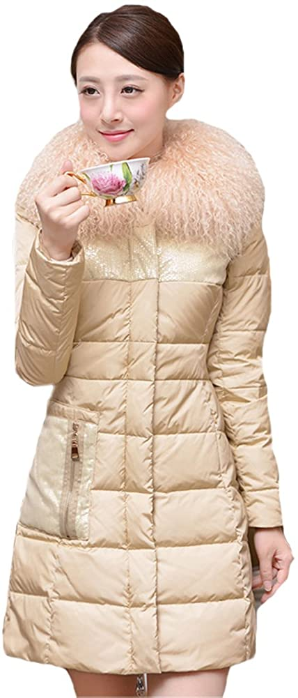 Queenshiny New Style Women's Down Coat with Wool Collar
