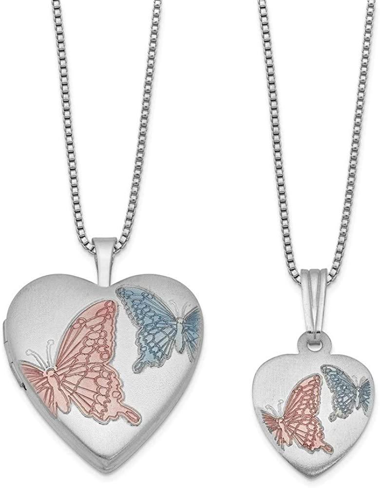 925 Sterling Silver Satin Enamel Butterflies Love Heart Locket and Pendant Necklace Set Jewelry Gifts for Women