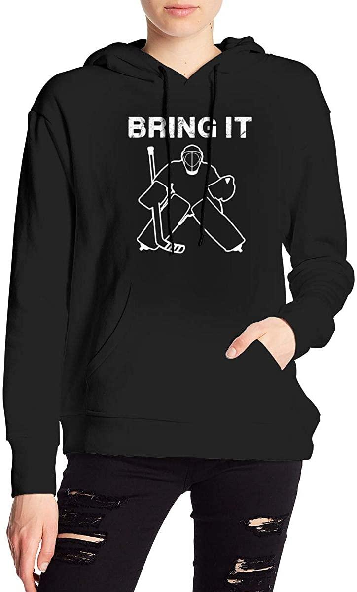 Nbcf Bring It Hockey Goalie Women's Long Sleeve Drawstring Pullover Hoodie Pocketed Sweatshirts