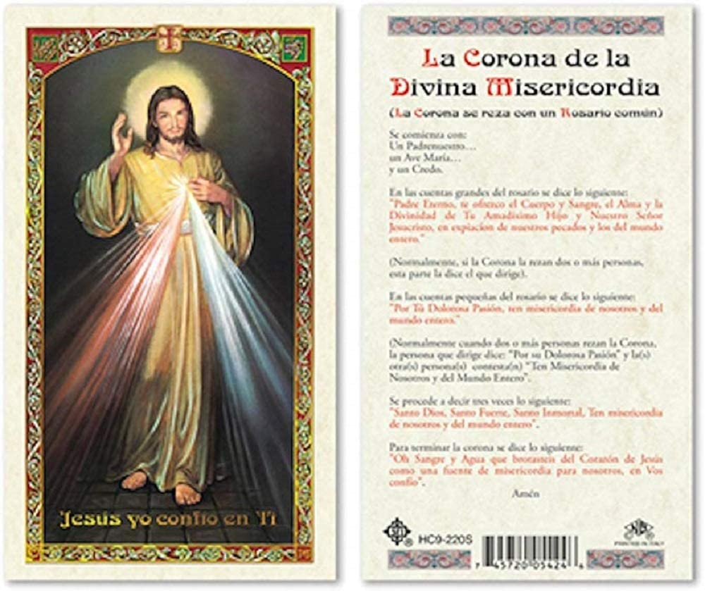 SPANISH DIVINE MERCY - TRUST LAMINATED PRAYER CARDS - 25/PKG