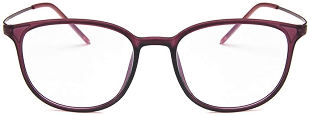Unisex Glasses Frame Retro Purple Oval Full Frame Decoration Prescription Glasses