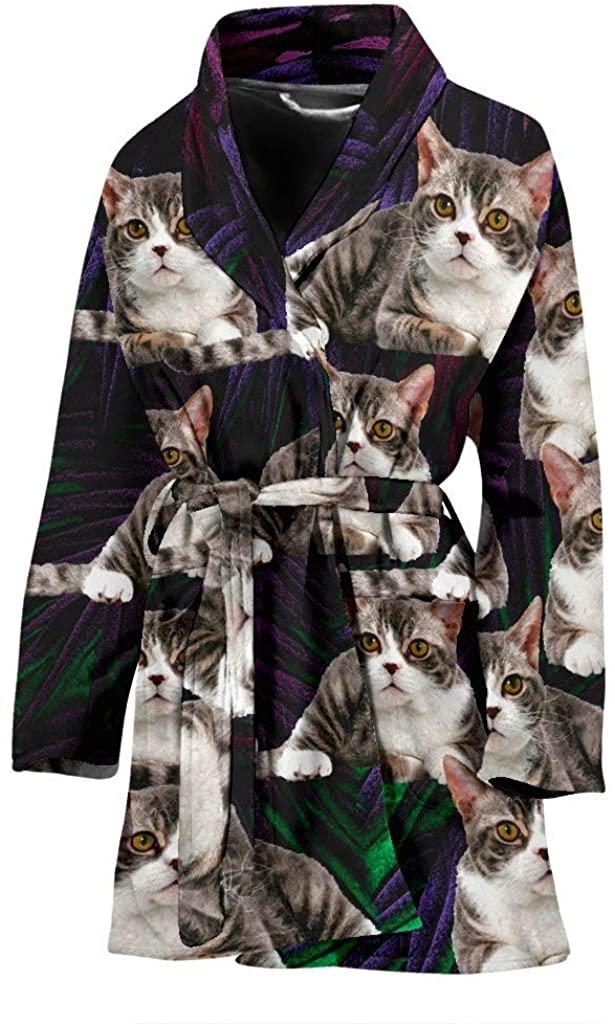 American Wirehair Cat Print Women's Bath Robe