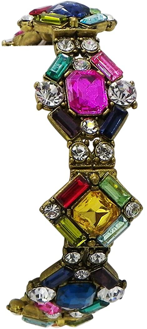 Rosemarie Collections Women's Vintage Deco Design Multi Color Crystal Statement Bracelet