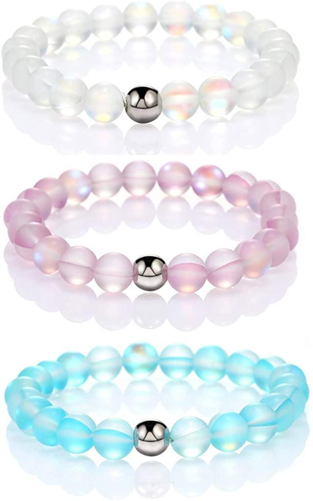 The Woo's 3 Pcs Round Mystic Mermaid Glass Beaded Stretch Bracelet Handmade 8mm Matte Beads Elastic Bracelet Wristband with Love Charm Beaded Valentines Bracelet for Women Girl Jewelry
