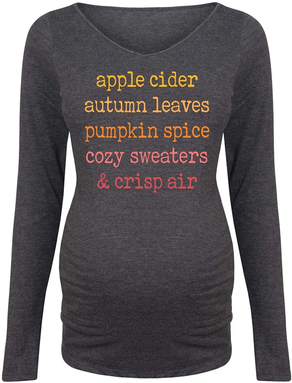 Apple Cider Autumn Leaves - Maternity Long Sleeve Tee