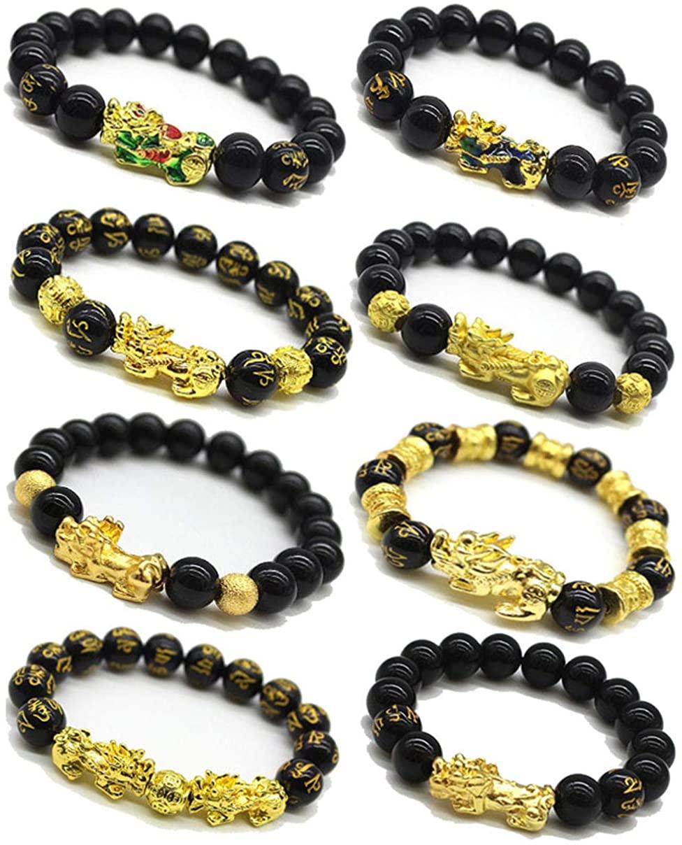 Jewdreamer 8 PCS Feng Shui Pi Xiu Bracelet for Men Women Black Obsidian Bracelet Good Luck Pi Yao Attract Wealth Jewelry Adjustable Elastic