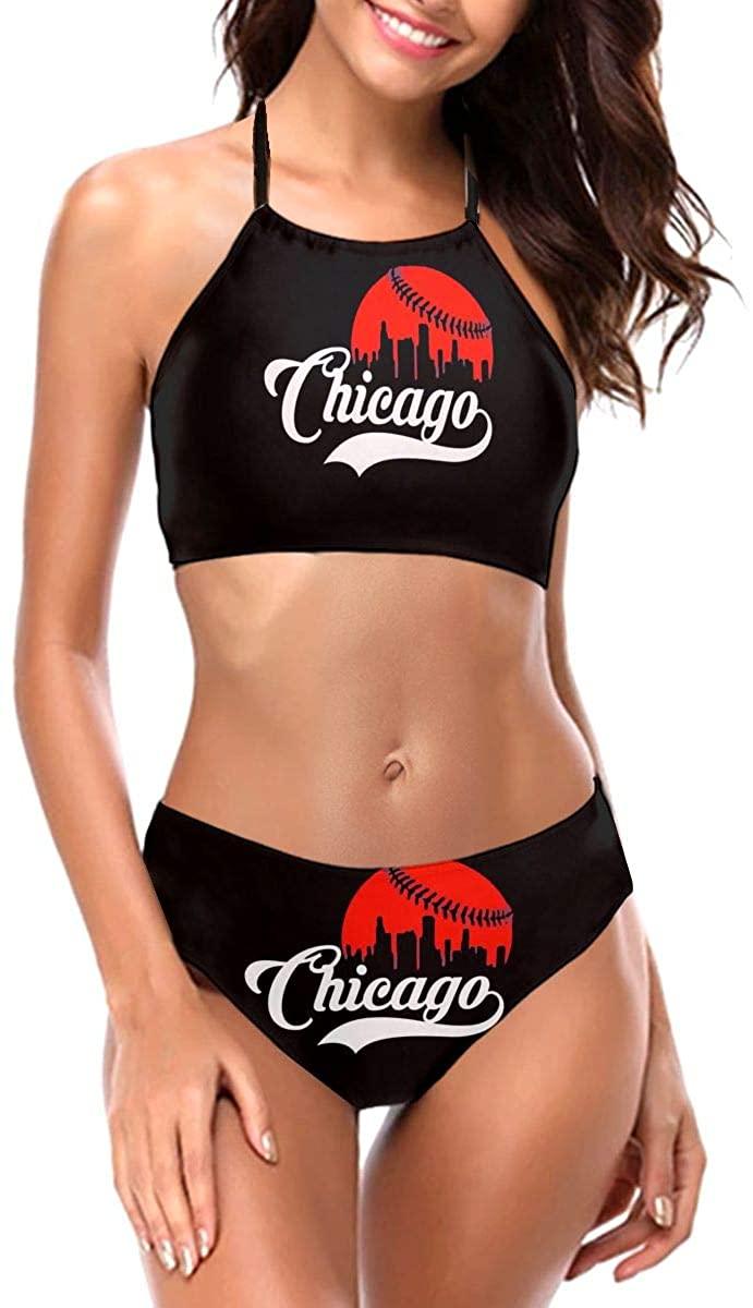 Chicago City Skyline Cu-Bs Women's Bikini Mat Hollow Strapless Swimsuit Two Piece Swimsuit