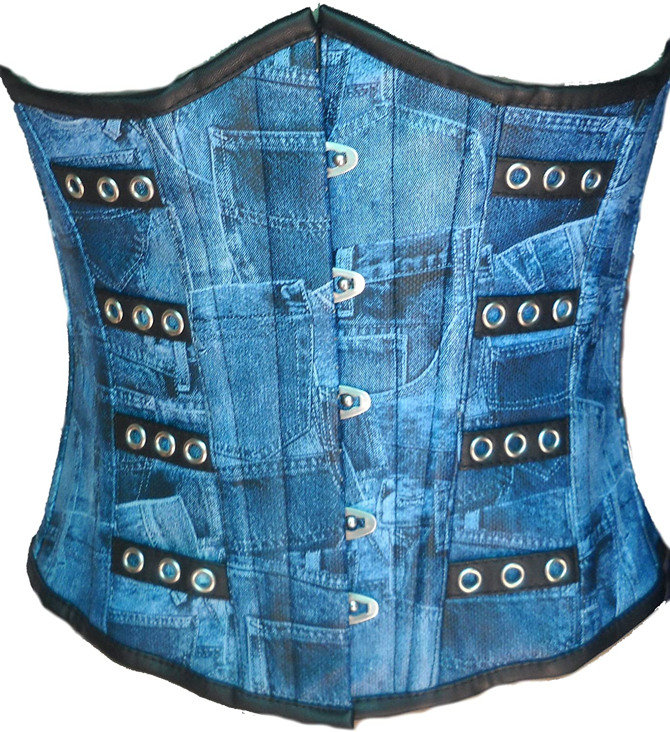Blue Denim Print Leather Goth Steampunk Waist Training Bustier Underbust Corset