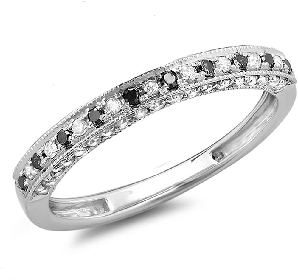 Dazzlingrock Collection 0.40 Carat (ctw) 14K Gold Round Black & White Diamond Ladies Stackable Anniversary Wedding Band