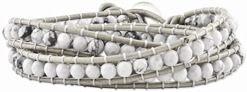 Sonia Jewels White Howlite Beaded and Leather Multi-wrap Bracelet 21