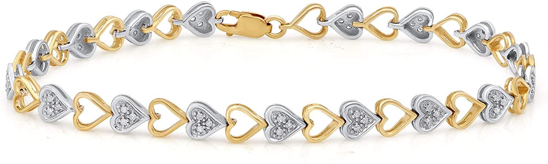 1/5 Carat Natural Diamond Bracelet 10K Yellow Gold and White Gold (H-I Color, I2-I3 Clarity) Heart Shape Diamond Bracelet for Women Diamond Jewelry Gifts for Women