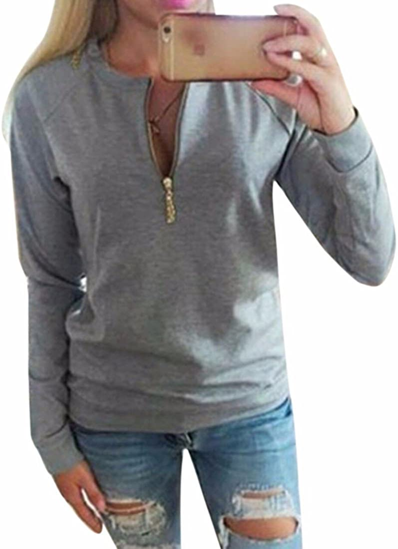 Lady Winter/Fall Hoodies Long Sleeves Zipper Round Collar Simple Loose New Gray