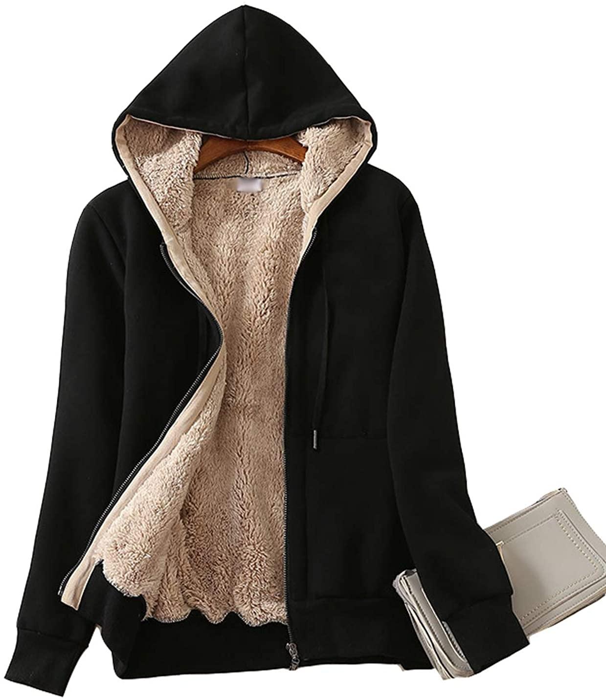Hongsui Women's Plush Jacket Lamb Cashmere Hooded Sports Jacket Zipper Long Sleeve Winter Jacket