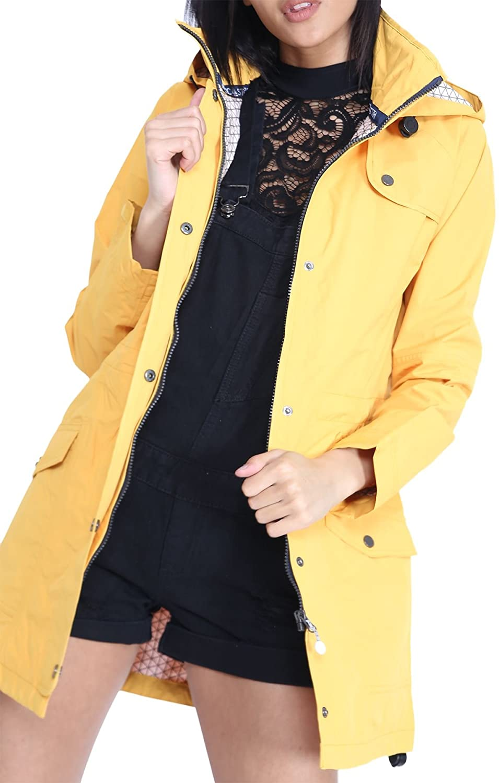 shelikes New Womens Hooded Plain Lightweight Rain Waterproof Rain Mac
