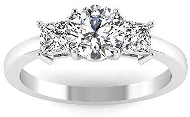 0.58 Carat Round Princess IGI Certified Diamond Engagement Ring, Three Stone Women Birthday Anniversary Promise Ring, Bridal Trilogy Matching Ring Set, 14K White Gold, Size:US 7.0