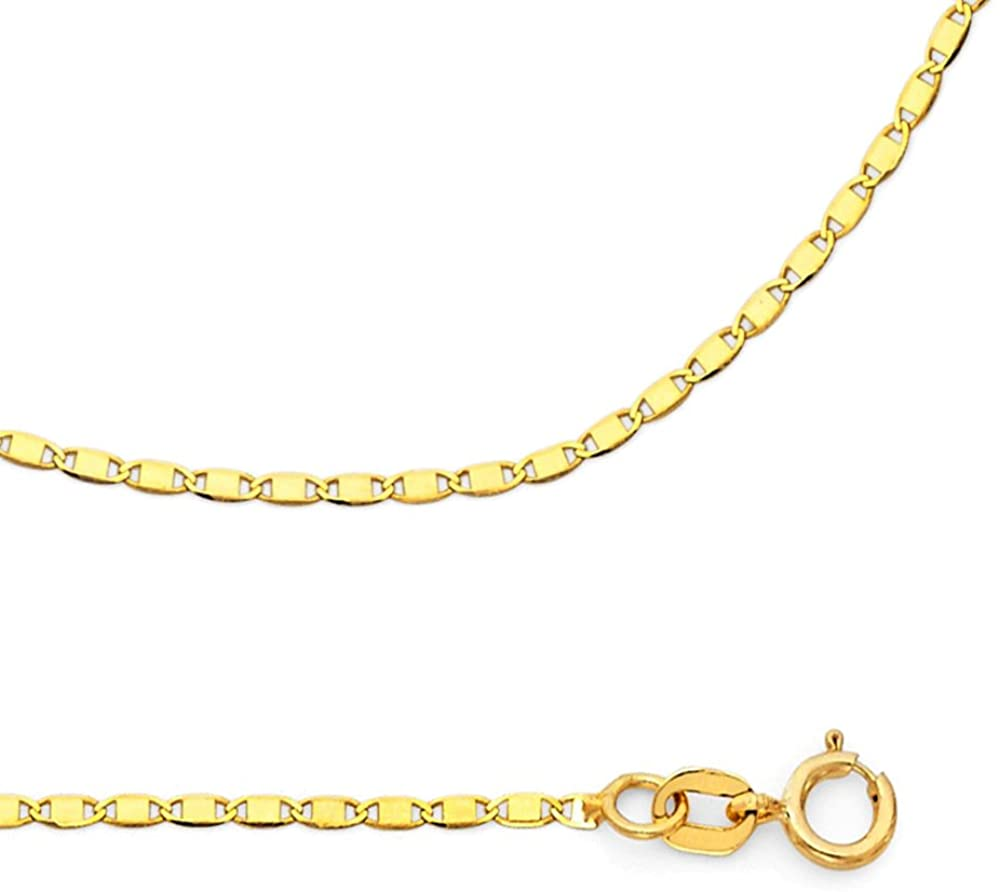 ZenJewels Solid 14k Yellow Gold Necklace Chain Flat Link Genuine Polished Style Thin 1.3 mm 16,18,20,22,24 inch