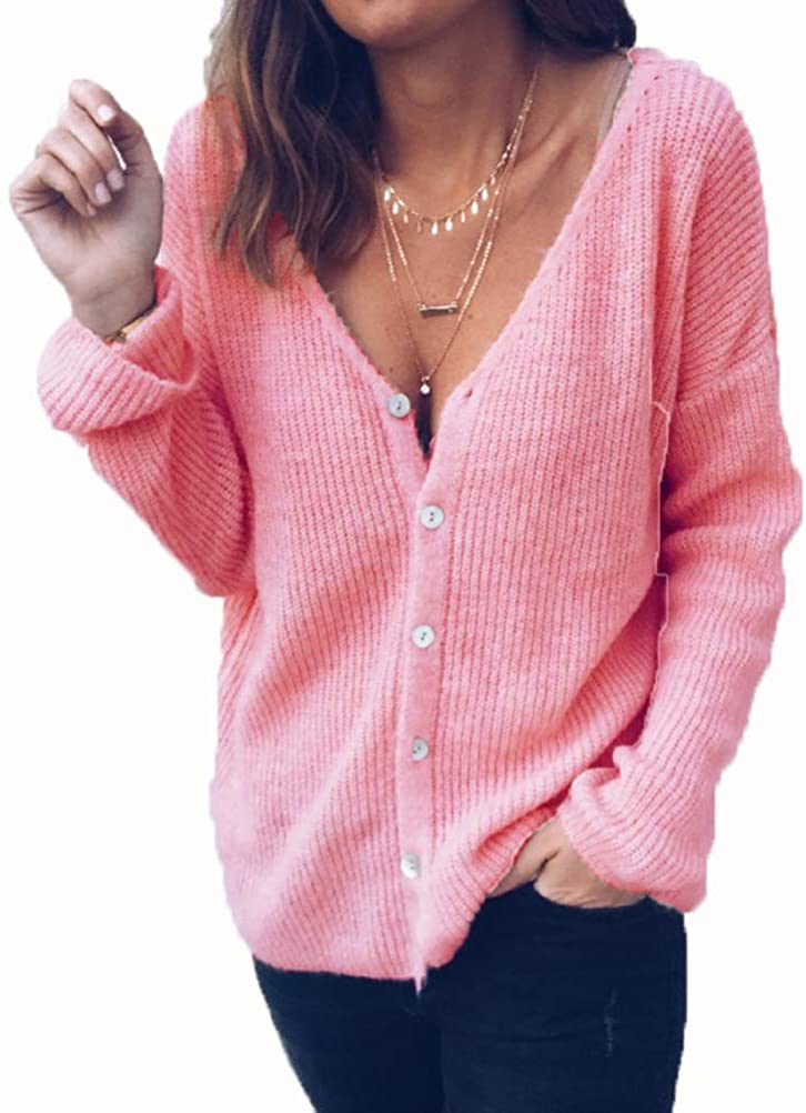 Clopon Womens Casual Sweater with Buttons V Neck Blouses Button up Long Sleeve Tops Soft Comfortable