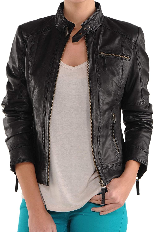 SKINOUTFIT Women's Leather Jacket Stylish Motorcycle Biker Genuine Lambskin 116