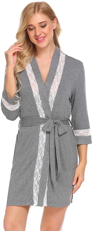 Ekouaer Women's Kimono Robe 3/4 Sleeves Modal Lace Bathrobe S-XXL
