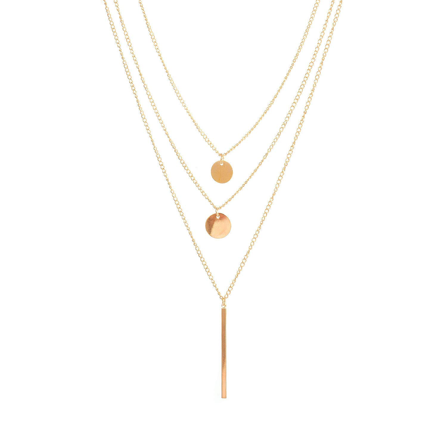 Geroki Sequin Layered Necklace Bar Pendant Necklaces Coin Choker Necklace Chain Jewelry for Women and Girls(Gold)