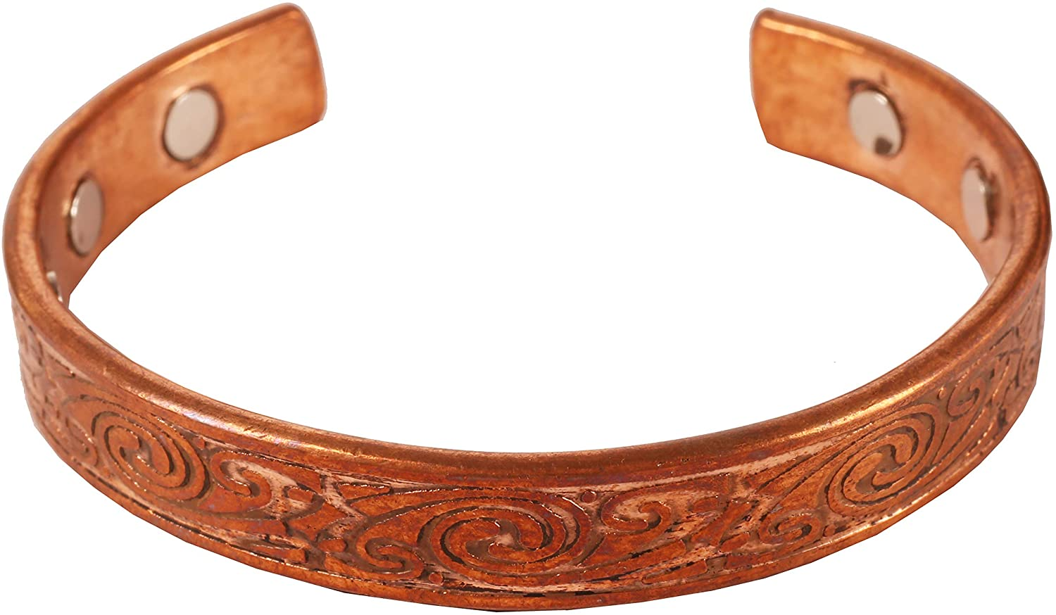Touchstone Indian Beautifully Hammered Magnetic Healing Copper Peace Chakra Yoga Meditation Mantra Jewelry Bracelet for Women and Men.