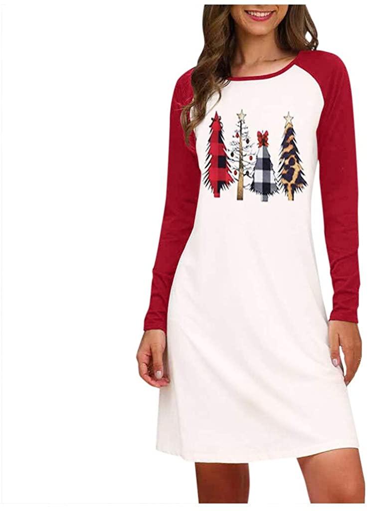 Mikey Store Women Plaid Leopard Christmas Tree Print Long-Sleeve T-Shirt Dress