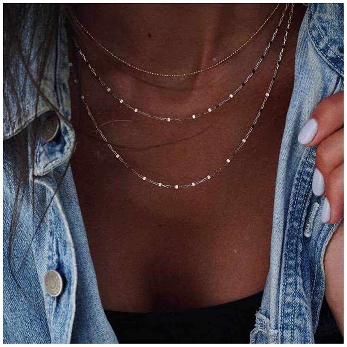 CanB Layered Choker Necklace Dainty Gold Necklaces Charm Chain Necklaces Jewelry Decorative Short Simple Necklace Sexy Chokers Neckalces for Women Girls