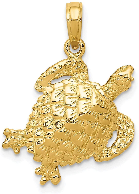 14K Gold Sea Turtle Charm Ocean Jewelry Jewelry