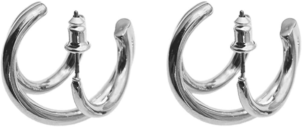 Happyyami 1Pair of Metal Hoop Earrings C Ear Stud Ear Hoop Jewelry for Lady (Golden)