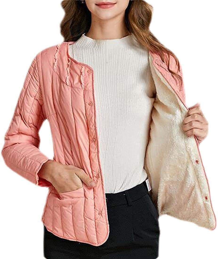 Wndxfhdscd Women's Thick Winter Round Neck Coat Quilted Puffer Jacket