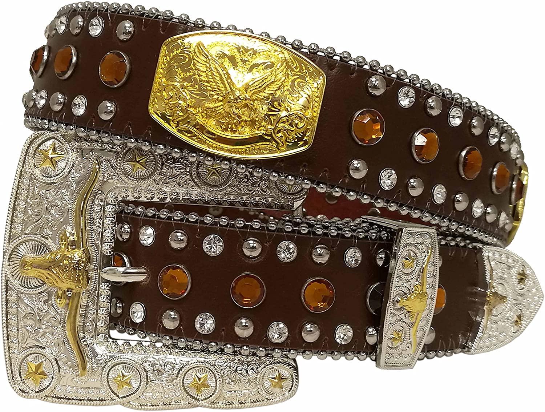 West Star Women or Men Gold Concho Head Turner Shiny Longhorn Buckle Super Bling Soft Leather Belt