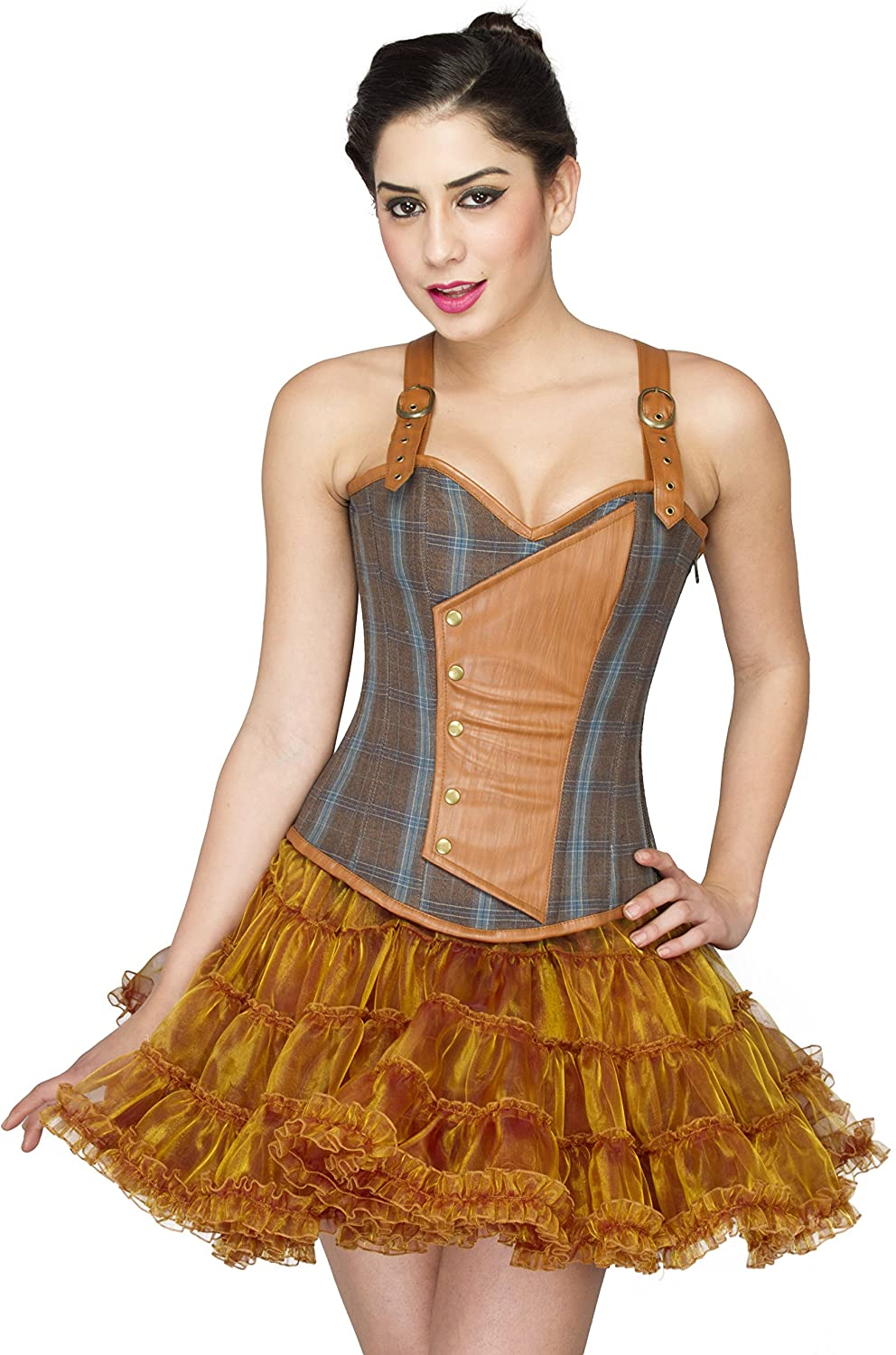 Brown Cotton Leather Overbust Plus Size Corset Waist Training with Straps