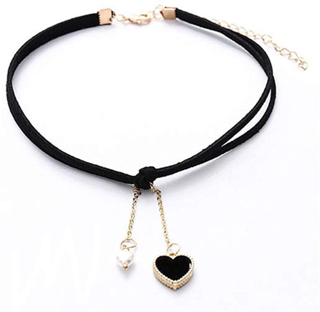 Heart Pendant Velvet Choker Classic Gothic Tassel Collar Leather Necklace for Women Girls