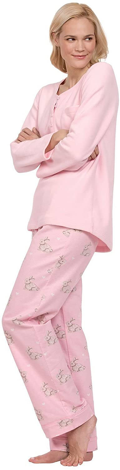 PajamaGram Soft Fleece Pajamas Women - Cozy Pajamas for Women, Pink