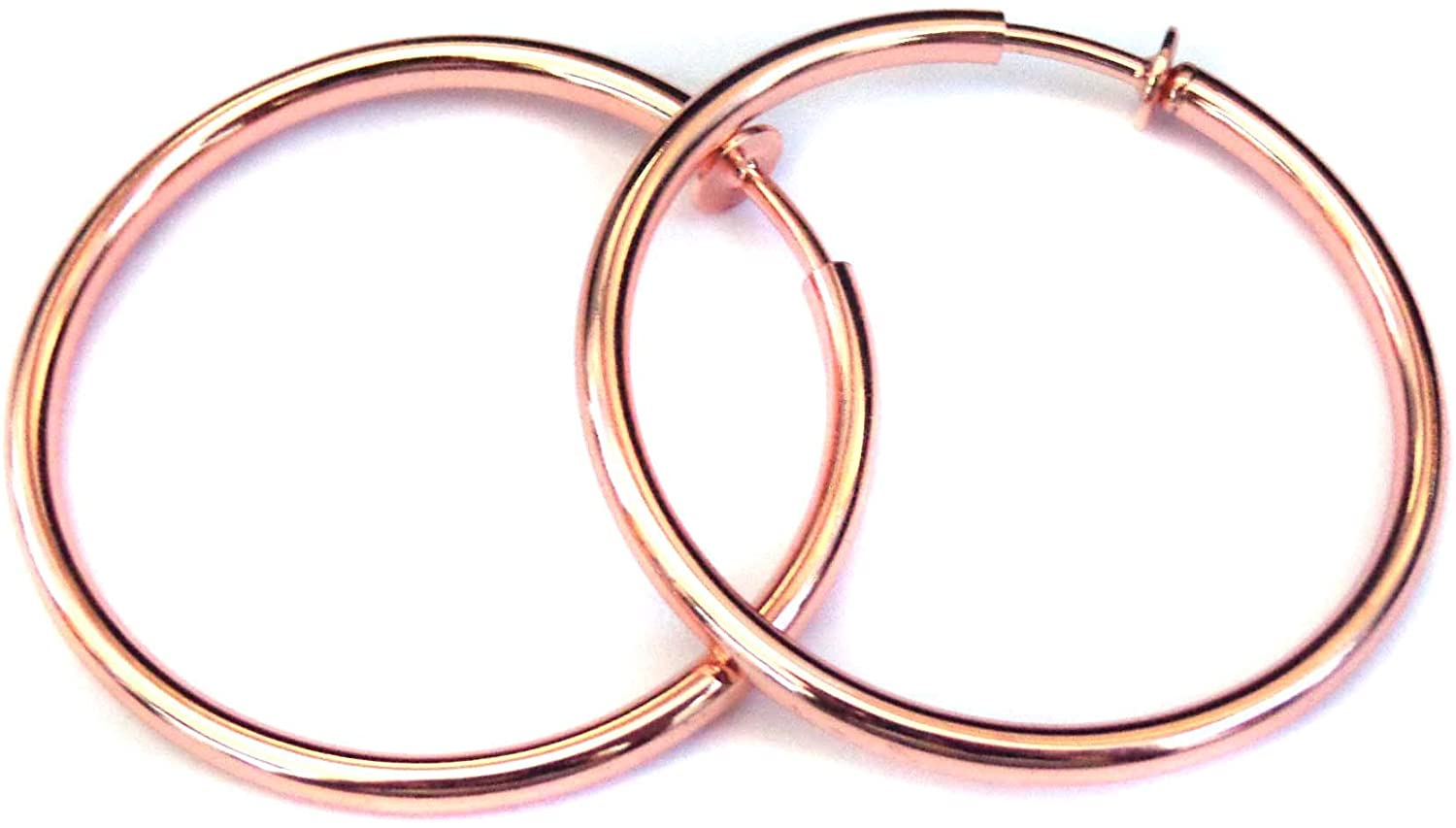 Clip-on Earrings Plated Rose Gold Tone Solid Hoops 2.25 inch Hypo-allergenic