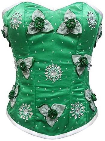 Green Satin Flower Sequins Goth Burlesque Waist Cincher Bustier Overbust Corset