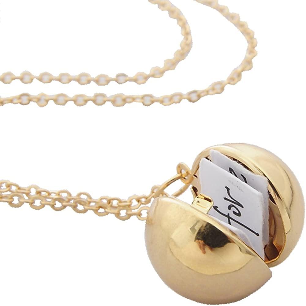 Secret Message Ball Locket Necklace,Secret Message Ball Pendant Locket Chain Jewelry Necklace Gifts.
