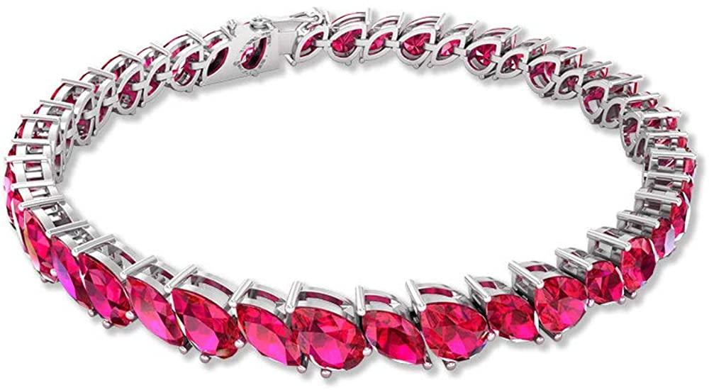 17.85Ct Marquise Shape Ruby Glass Filled Bracelet, Unique Women Gold Bracelet, Certified Pear Shape Gemstone Tennis Bracelet, Wedding Charm Bracelet