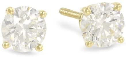 1/2 Carat Ideal Cut Diamond Stud Earrings Platinum Round Brilliant Shape 3 Prong Screw Back (J-K Color, SI2-I1 Clarity)