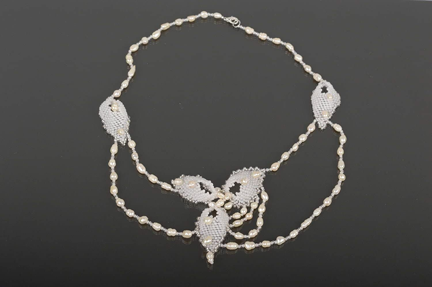 Handmade Beaded Necklace Pearl Necklace Wedding Jewelry Bridal Outfit