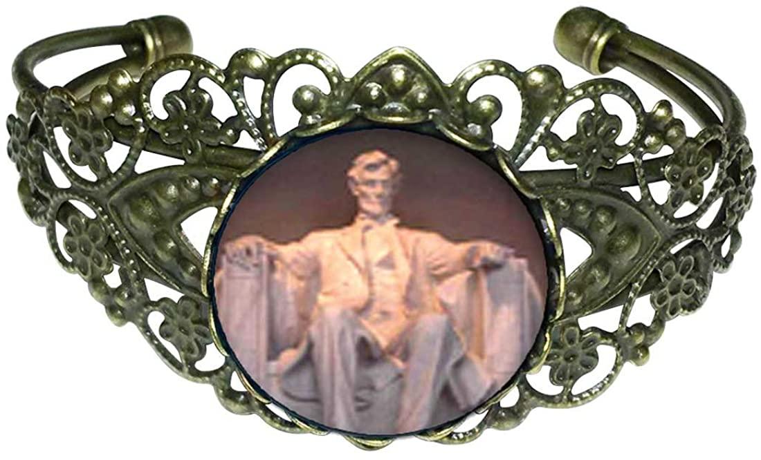 GiftJewelryShop Bronze Retro Style Lincoln Memorial Washington Dc Flower Cuff Bangle Bracelets