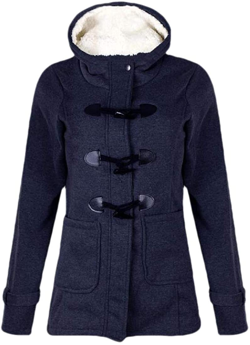 Womens Button-Down Cable Knit Cardigans Fleece Hooded Zipper Sweater Coat
