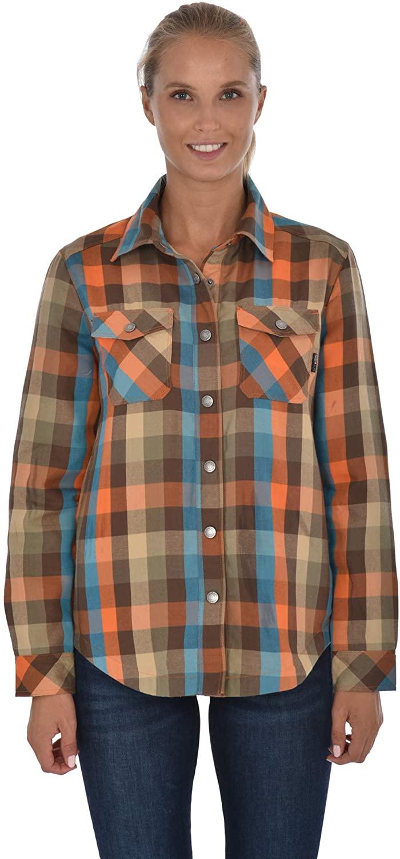 Swiss Alps Womens Checkered Plush Fleece Lined Pocket Front Shirt Jacket